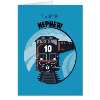 10mo tren del cumpleaños del sobrino, Little Boy, Tarjeta De Felicitación