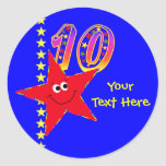 10mos pegatinas del cumpleaños de la estrella sonr etiqueta redonda