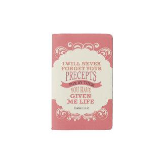 """119:93 del salmo """"nunca olvidaré sus preceptos """" cuaderno de bolsillo moleskine"""