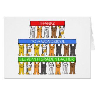11mas gracias del profesor del grado tarjeta de felicitación