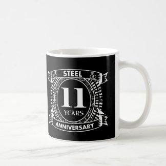11mo acero del aniversario de boda taza de café