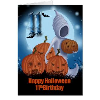 11mo Fantasma y calabazas de Halloween del Tarjeta De Felicitación