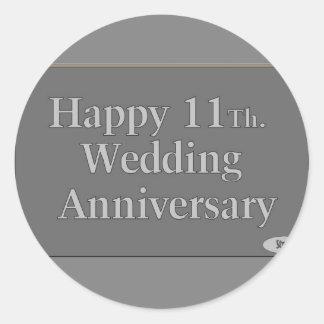 11mo feliz Acero del aniversario de boda Etiqueta