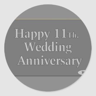 11mo feliz. Acero del aniversario de boda Pegatina Redonda