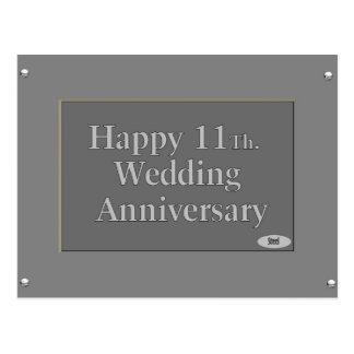 11mo feliz. Acero del aniversario de boda Postal