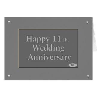11mo feliz. Acero del aniversario de boda Tarjeta De Felicitación