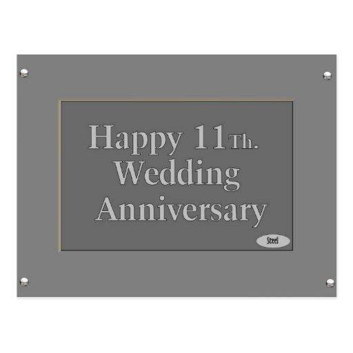 11mo feliz. Acero del aniversario de boda Tarjeta Postal
