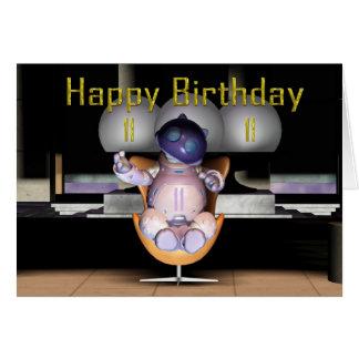 11mo gato feliz del robot del cumpleaños tarjetón