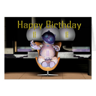 11mo gato feliz del robot del cumpleaños tarjeta de felicitación