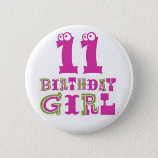 11mo Insignia del botón del chica del cumpleaños