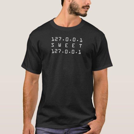 (127.0.0.1) Empollón-Camisa negra casera dulce Camiseta