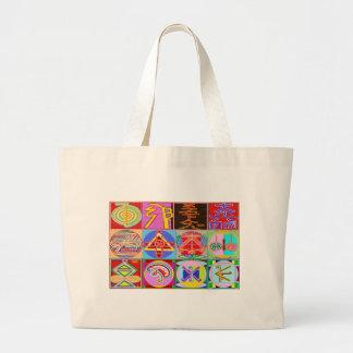 12 diseños de la cura de Reiki n Karuna Reiki Bolso De Tela Grande