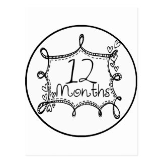 12 meses de jalón del Doodle Tarjetas Postales