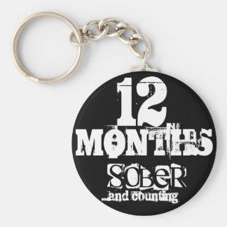 12 meses de sobriedad llavero redondo tipo chapa