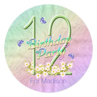 12mo Arco iris y mariposas de la fiesta de Invitación 13,3 Cm X 13,3cm