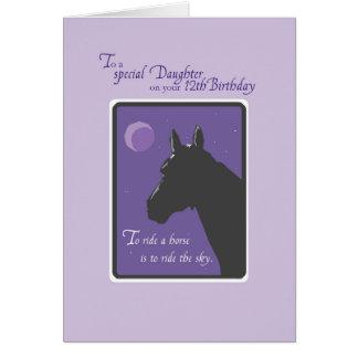 12mo cumpleaños de la sobrina con el caballo en la tarjeta de felicitación