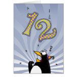 12mo cumpleaños - tarjeta de la sorpresa del pingü