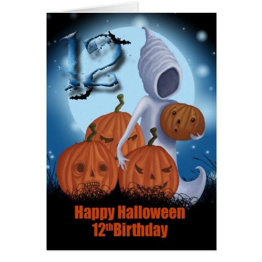 12mo Fantasma y calabazas de Halloween del Felicitacion