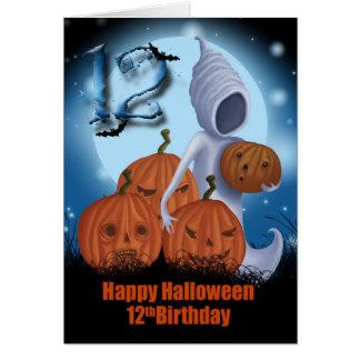 12mo Fantasma y calabazas de Halloween del Tarjeta De Felicitación