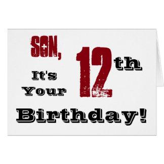 12mo saludo del cumpleaños del hijo en negro, tarjeta de felicitación