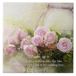 147:11 del salmo, verso de la biblia, cesta de azulejo cuadrado grande