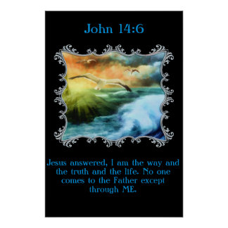 14:6 de Juan con las gaviotas que vuelan sobre el Póster