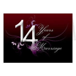 14 años de boda (aniversario de boda) tarjeta de felicitación