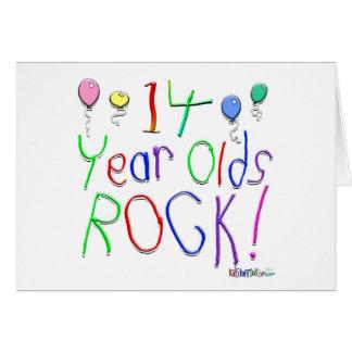¡14 años de la roca! tarjeta de felicitación