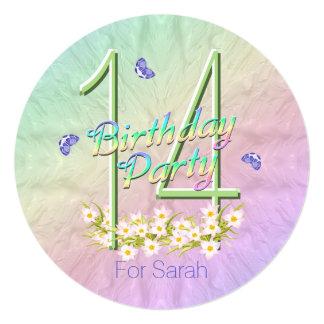 14to Arco iris y mariposas de la fiesta de Invitación 13,3 Cm X 13,3cm