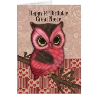 14to cumpleaños de la gran sobrina con el búho tarjeta de felicitación