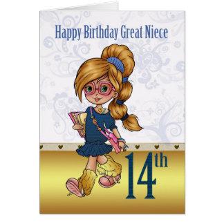 14to cumpleaños de la gran sobrina con el chica de tarjeta de felicitación