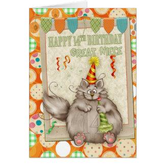 14to cumpleaños de la gran sobrina con el gato del tarjeta de felicitación
