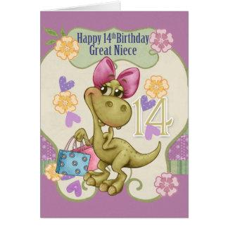 14to cumpleaños de la gran sobrina con el tarjeta de felicitación
