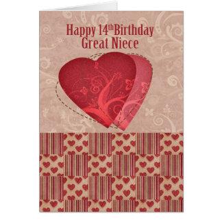 14to cumpleaños de la gran sobrina con estilo tarjeta de felicitación