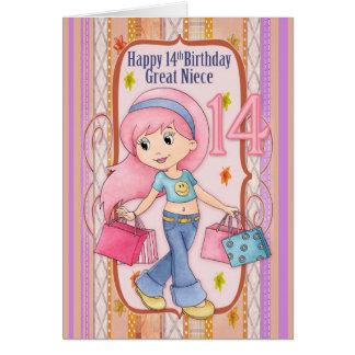 14to cumpleaños de la gran sobrina con las compras tarjeta de felicitación