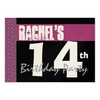 14to Cumpleaños moderno para sus lunares rosados Invitación 12,7 X 17,8 Cm