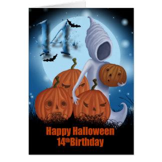 14to Fantasma y calabazas de Halloween del Tarjeta