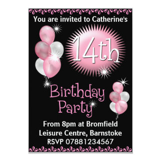 14to Invitación de la fiesta de cumpleaños