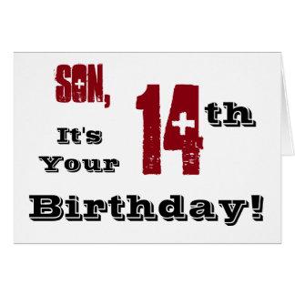 14to saludo del cumpleaños del hijo en negro, felicitaciones