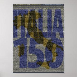 150o aniversario de Italia de la unificación Póster