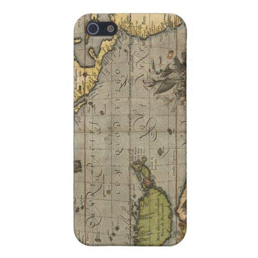 1589 caso del iPhone 4 del mapa del Océano Pacífic iPhone 5 Carcasas