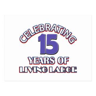 15 años de diseños del cumpleaños postal