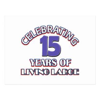 15 años de diseños del cumpleaños tarjeta postal