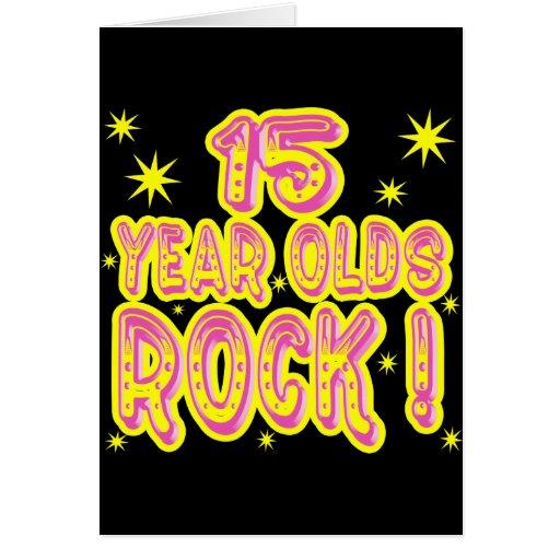 ¡15 años de la roca! Tarjeta de felicitación (rosa
