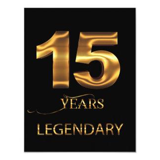 15 años de tarjeta legendaria invitación 10,8 x 13,9 cm