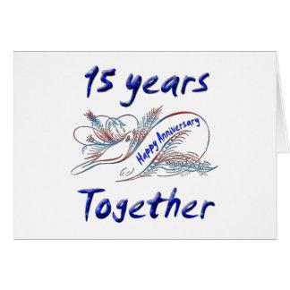 15 años junto tarjeta de felicitación