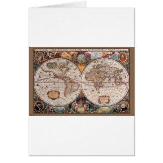 1600s del siglo XVII originales del latín del mapa Tarjeta De Felicitación