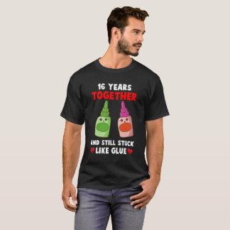 16 años junto. décimosexto Camisa del aniversario