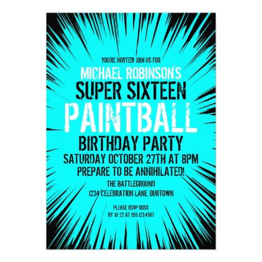 16 invitaciones estupendas del fiesta de Paintball Invitacion Personal