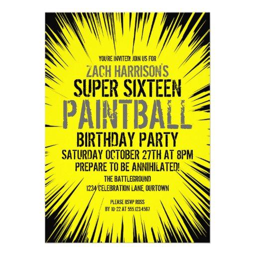 16 invitaciones estupendas del fiesta de Paintball Anuncio